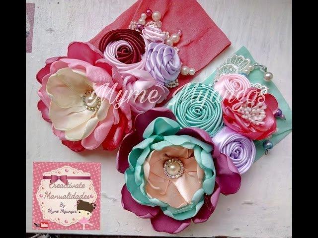Flor con petalos de liston, Tiara Elegante, balaca, vincha, tiara, diadema, valerina, manualidades