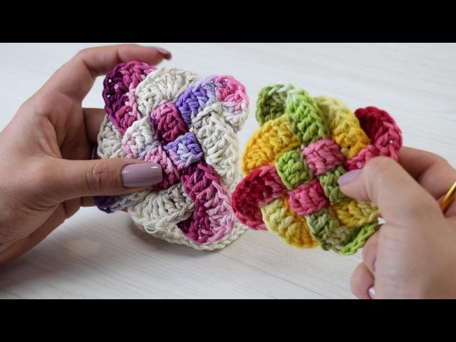 Quadradinho de Crochê Trançado para Tapetes por Sandra Brum