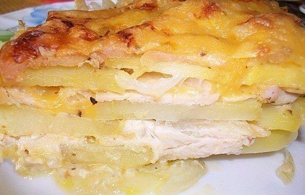 Картофельная запеканка с курицей и сыром (по-французски) Ингредиенты: -Картошка