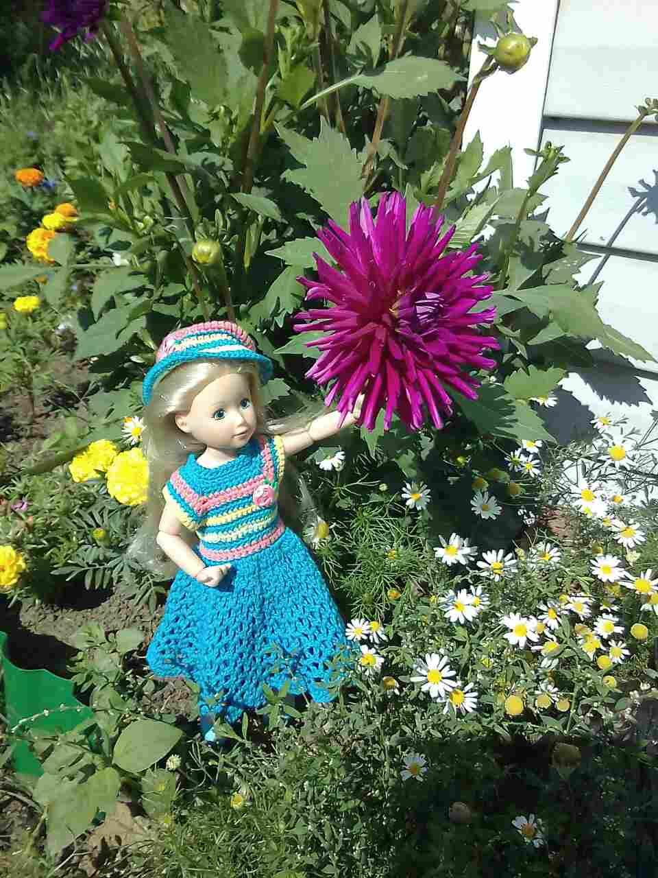 кукольная одежда, платье, джолина, балерина, вязание крючком, платье, шляпка, шапочка крючком, кукла