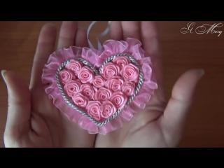 Сердце в технике канзаши. Валентинка своими руками. Автор мк - Светлана Иванова