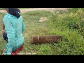 Asian Children Trap a lot of Snakes With Their Homemade Trap
