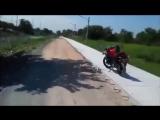 Парень бросает ботинок в обезьяну, которая оккупировала его мотоцикл