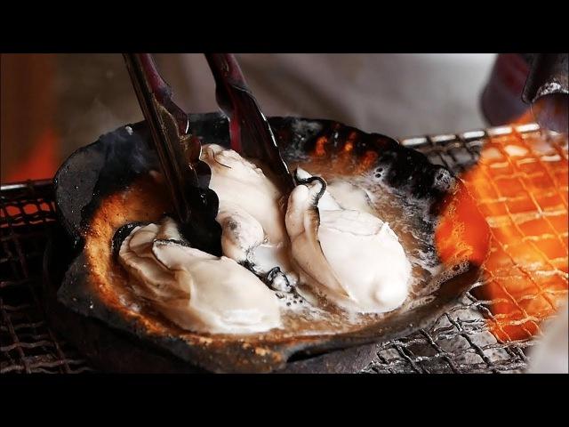 Japanese Street Food - OYSTERS, CRABS, LAMB, SASHIMI, CHANKO NABE, MELONS Hokkaido Japan