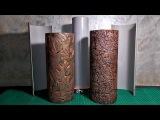 Форма для литья вазы Ваза из гипса и листьев Ваза из гипса и фольги