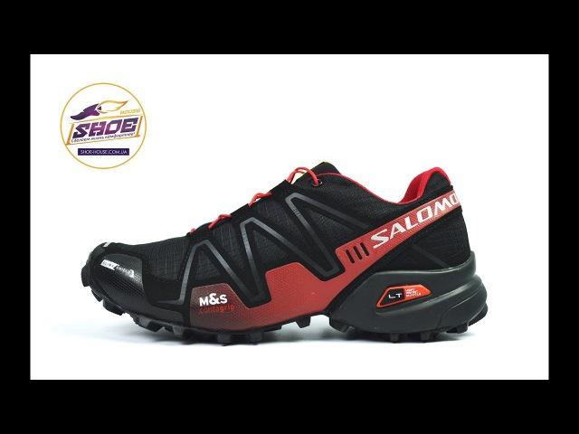 Черные с красным кроссовки мужские Salomon SpeedCross 3 GTX для спорта и туризма