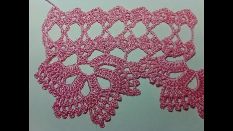 Кружевная кайма 3. Lace fringing 3. Мастер класс вязания крючком.
