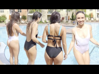 Swimsuit girls cold pool jump challenge 4K part 5