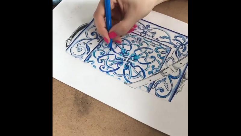 Работа кипит! Создание детализированного рисунка на курсе по fashion иллюстрации. Работа ученицы Евгении. сумка сумочка рисун