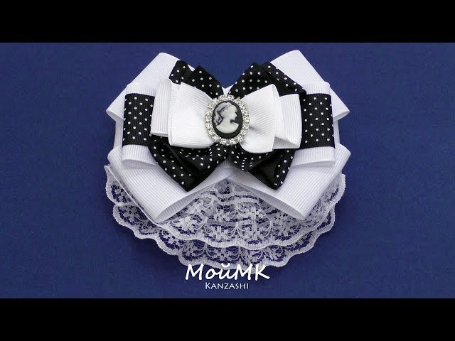 Брошь в школу Канзаши МК Brooch Kanzashi DIY