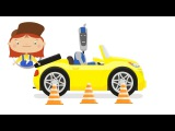 O Robô Handy 🔧 e os sensores de estacionamento no carro. Doutora McWheelie. Desenho animado