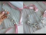 DIY handmade hair vine Bridal Hair Headpiece Повязка на голову из жемчуга и хрусталя