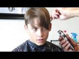 Long Haired Boy Getting A Nice Short Haircut HD