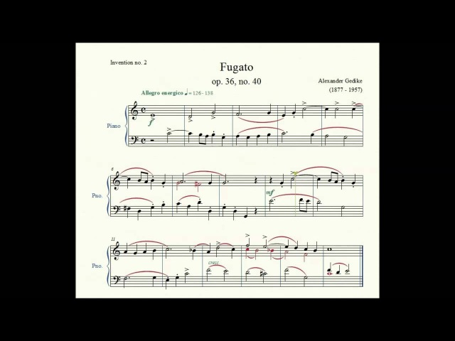 Invention no. 2: Fugato (op. 36, no. 40) - Alexander Gedike - Piano Repertoire 2