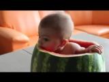 Ребёнок в арбузе ест арбуз <3