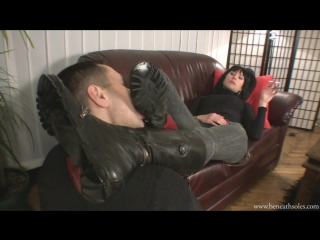 Foot Cleaning Caffe - 7 licking boots #femdom #mistress #slave #bdsm #boot #fetish