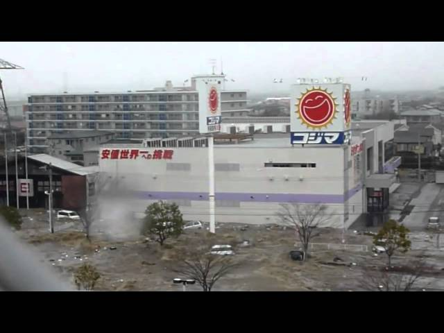 New video of Tsunami invading the Port of Sendai 2 [stabilized] - Japan earthquake 2011