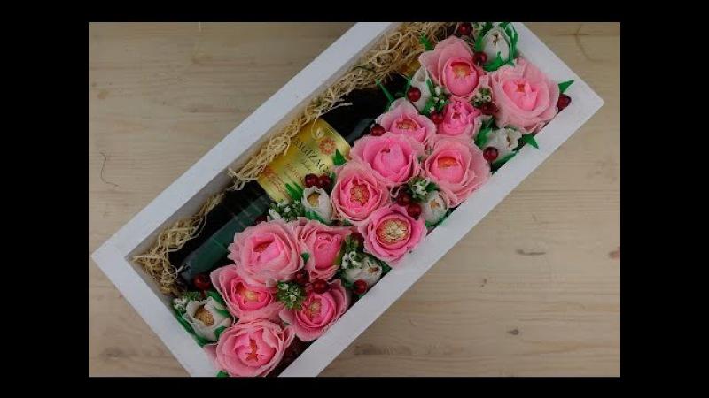 Вино в коробке с цветами из конфет. Мастер-классы на Подарки.ру