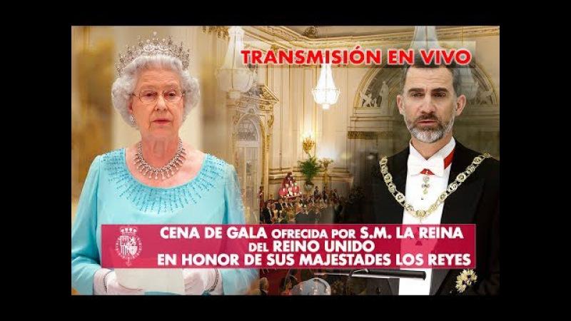 Cena de gala ofrecida por S M la Reina del Reino Unido a sus Majestades Los Reyes de España