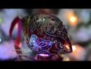 Набор елочных игрушек из богемского стекла Винная орхидея Витражная роспись