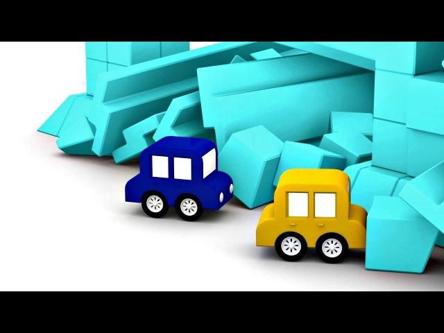 Dessin animé pour enfants de 4 voitures colorées - construction d'une ville