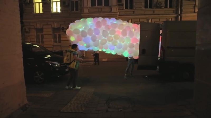 Запуск светящихся шаров. Шарики со светодиодами.
