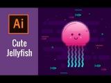Adobe Illustrator Tutorial | Cute JellyFish (Khmer)