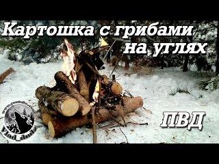 ПВД в зимний лес   Картошка с грибами на углях