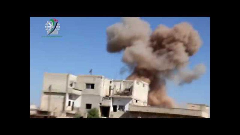 Сирия 24 04 2017 Авиаудар объемно детонирующими бомбами по бармалеям в городе Кафр