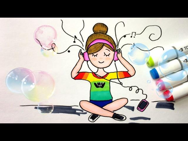 Как рисовать Девочку Tumblr ♥ Идеи для лд ♥ How to Draw a Girl Listening to music