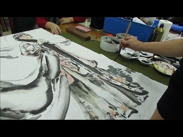 黃中泰老師教畫 原美現代水墨人物 牡丹亭杜麗娘遊園於台北中正紀念堂
