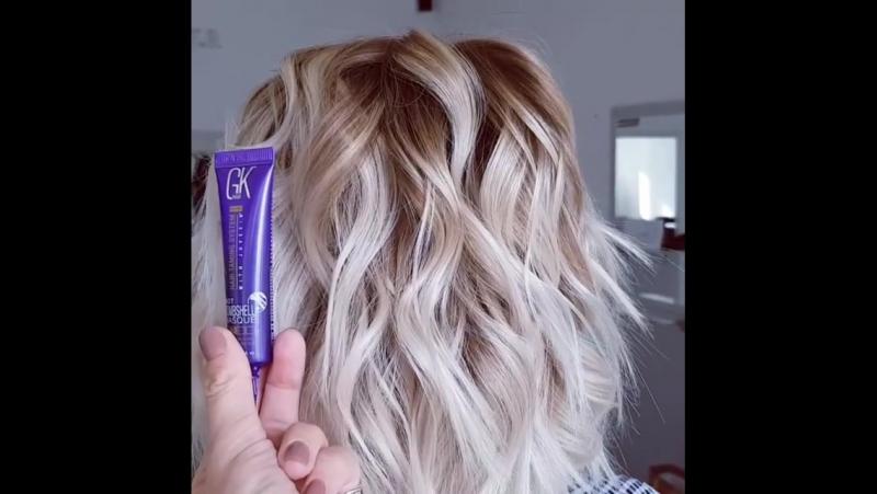 Анечка моя постоянная модель💖  Сегодня в прямом эфире на расческатв мы использовали средство для тонирования волос globalkerat