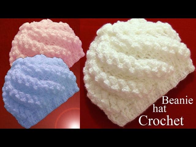 Gorro a Crochet en punto remolino popcorn en relieve tejido tallermanualperu