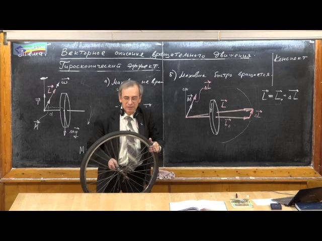 Урок 113. Векторное описание вращательного движения. Гироскопический эффект.