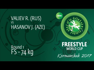 Round 1 FS - 74 kg: J. HASANOV (AZE) df. R. VALIEV (RUS), 6-2