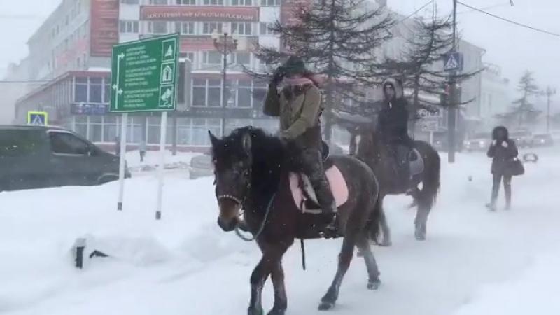 Снегопад в Магадане, Россия - 20.11.2017