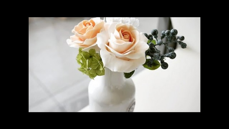 Роза из холодного фарфора Cold porcelain rose
