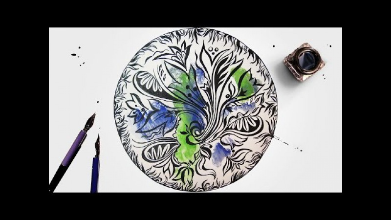 Speed Painting Floral Zendoodle with Technique Monotype Pen Ink Watercolor IOTN