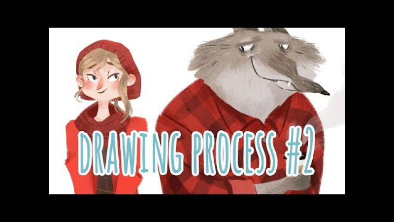 Drawing Process 2 ~ Red and Wolf