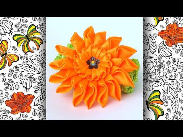DIY Домашний handmade. Цветок хризантемы на повязку для девочки, МК Канзаши (English subs)