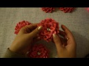 Цветы из атласных лент в прическу. Канзаши Мастер класс/ Kanzashi flower tutorial