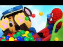 Learn Colors With Little Bad Baby Spider Man And Chase Paw Patrol! Funny for kids colored balls