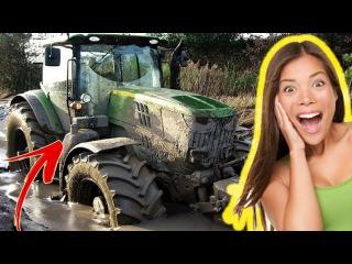 Тракторы застряли в грязи 2017 Реакция Девушек