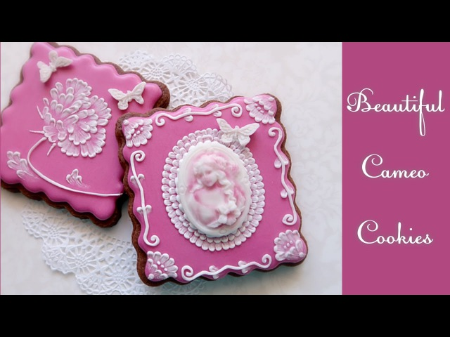 Beautiful Cameo Brush embroidery cookies.