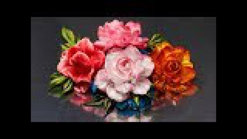Цветок РОЗЫ (спрей-розочки). Мастер класс. КАНЗАШИ / DIY Ribbon Flower Kanzashi