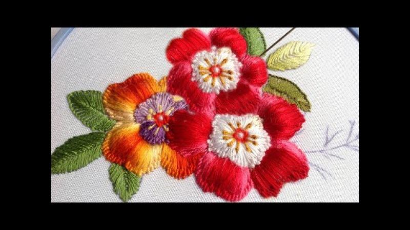 Embroidery Puffed flower    Вышивка Цветы пуфы