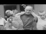 Emaciated prisoners of a Nazi concentration camp in Ebensee, Austria released af