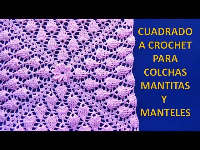 Cuadrado a crochet HOJITAS EN RELIEVES PARA MANTITAS DE BEBE paso a paso