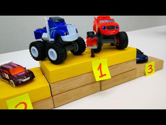 Monster Machines Blaze 🏎️ ve Crusher 🚓 kupa 🏆 kazanırlar! Arabayarışı Oyuncakarabalar