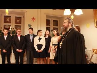 Игумен Феодосий на праздновании Рождества в воскресной школе